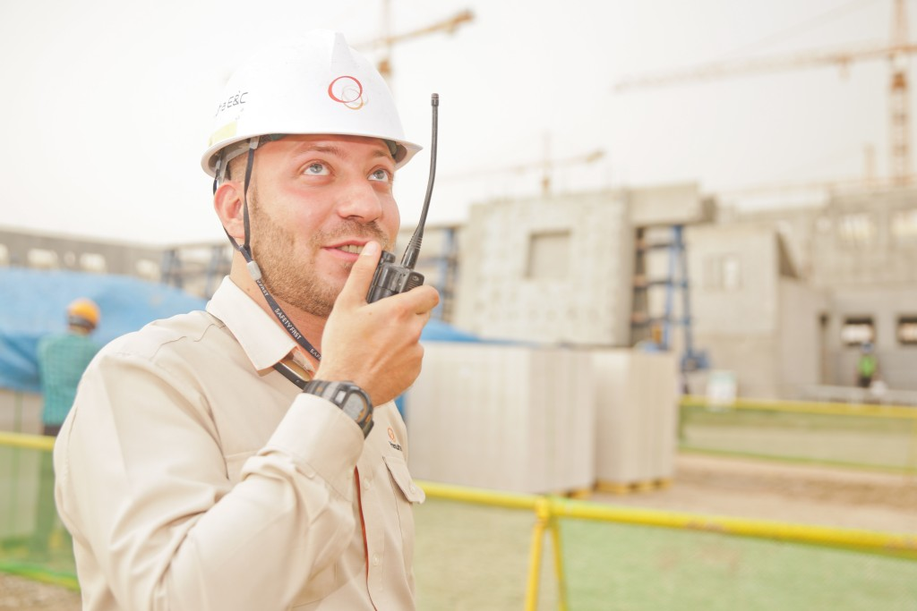 construction contractor with radio